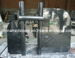 Todo el Polished Shanxi Black Granite Headstone con New Design