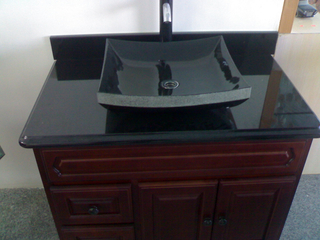 Modificar Absolute para requisitos particulares Black Granite Washbasin para Bathroom