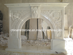 Bianco Carrara White Marble Fireplace Mantel para Interior Decoration
