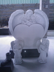 Style americano Grey Granite Headstone con Angel Heart Shaped