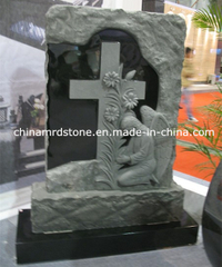Nuevo Design Angel y Cross Shaped Granite Headstone para el cementerio
